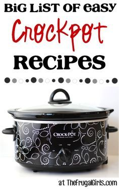 """BIG List of Easy Crockpot Recipes - This should come in handy for my """"cook more"""" resolution"""