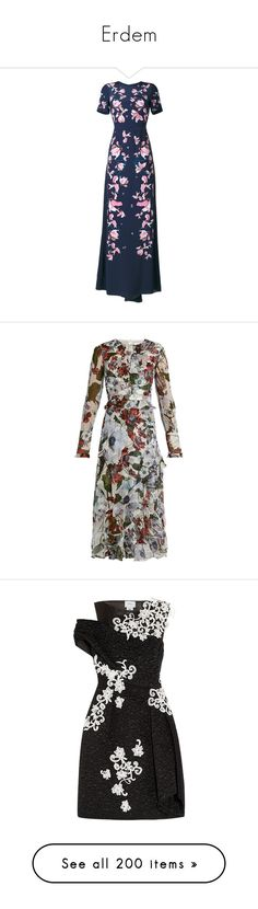 """Erdem"" by brassbracelets ❤ liked on Polyvore featuring dresses, gowns, blue, blue dress, blue skater skirt, circle skirt, floral evening dresses, short-sleeve dresses, white print and white dress"