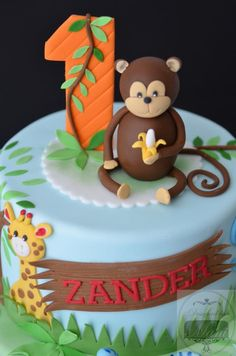 Jungle themed 1st Birthday cake