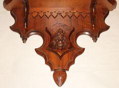 Walnut Victorian Clock Shelf Wall Wooden Ornate Antique