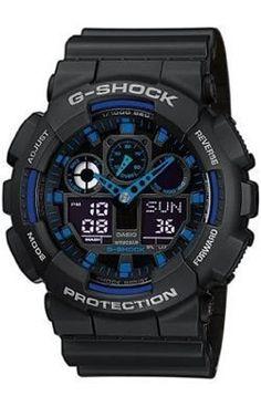 Casio Mens GA100-1A2 Black Resin Quartz Watch with Black Dial