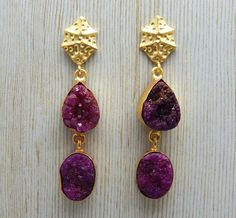 Designer Handcrafted Natural Pink Druzy Long Stud Dangle Earring With 22k Yellow Gold Plated
