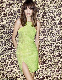 Alexa Chung wears a neon dress by Richard Nicoll