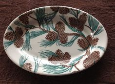 TEPCO CHINA PINECONE PATTERN (One) PLATTER, 7-1/2 x 11 inch  |  SOLD $256 eBay 12-10-14