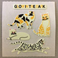 Sandylion+Glow+in+the+Dark+CATS+kittens+Stickers+Retro+Rare+Vintage+HG12