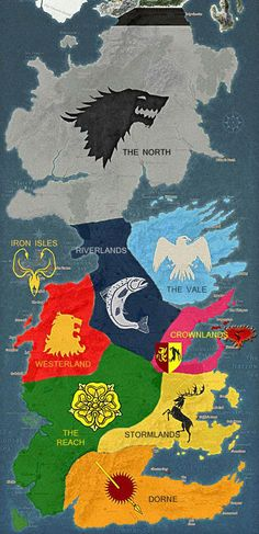 Map of Territories in Game of Thrones. If you haven't read the books, the series is still great.... BUT READ THE BOOKS.