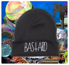 bastard: black beanie, white embroidery    hypenosis.com  http://facebook.com/hypenosis
