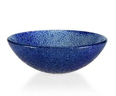"GV104BLM: Textured 16.5"" blue glass vessel. From Ryvyr's glass vessel collection."