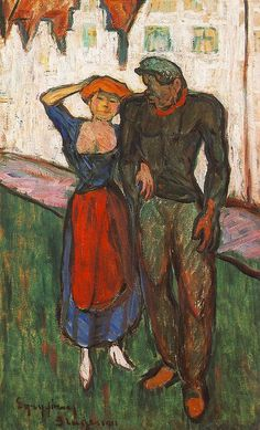 Lovers 1911 by Jozsef Egry Edvard Munch, Gauguin, National Gallery, Impressionist Paintings, Adam And Eve, Classical Art, Couple Art, Art Forms, Painting & Drawing