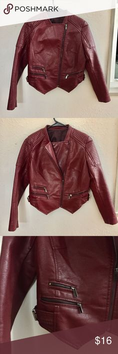Wine colored faux leather jacket Wine colored faux leather jacket from Romwe. Never been worn, perfect condition. Super cute and warm for fall weather or winter layers. Feel free to make an offer! 🥀 ROMWE Jackets & Coats