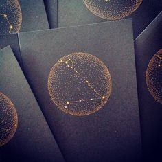 Screen print of your Star Sign Constellation based on my original drawing. Gold ink on black A6 card, delivered with black matching envelope. Scroll down the menu below to choose your sign, they're £2.50 each, or £10 for 5 cards, £20 for 10 cards and £25 for all 12 signs!