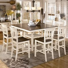 Shop Signature Design By Ashley Whitesburg 9 Piece Counter Height Dining Set At The Mine