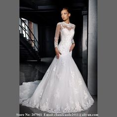 Find More Wedding Dresses Information about Sexy Mermaid Long Sleeve Tulle with Appliques Wedding Dresses 2015 Vestidos de noiva Robe de mariage Hight Neck casamento dress,High Quality sleeve wear,China sleeve storage Suppliers, Cheap tulle spool from Romantic bride wedding dress Suzhou Co., Ltd. on Aliexpress.com