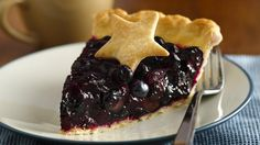 Fresh Blueberry Pie with cooked filling.
