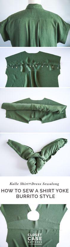 Sewing a shirt yoke using the burrito method // Kalle Shirtdress Sewalong // Closet Case Patterns