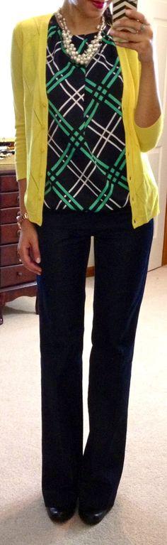 navy pants +navy/green top+ yellow cardigan.  via Hello, Gorgeous!