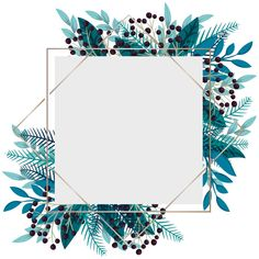 Floral frame - blue leaves and berries F. Flower Background Wallpaper, Framed Wallpaper, Cute Wallpaper Backgrounds, Flower Backgrounds, Background Patterns, Pretty Wallpapers, Pink Glitter Background, Cadre Design, Instagram Frame