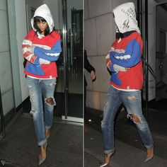 Rihanna wearing Raif Adelberg Deadboys Clubhouse Drugs hoodie, Acne Generic Girl ripped jeans, Christian Louboutin Iriza pumps.