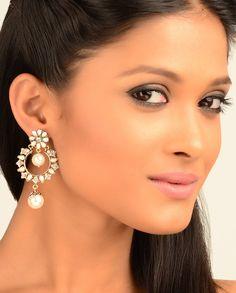 Floral Top Earrings with Pearl Drop  by Nidhaan
