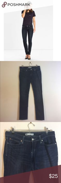 Levi's Demi Curve Dark Low Rise Skinny Jeans One of the most popular styles. The Revel (low rise) Demi Curve Skinny sits at the hip and has the shape-holding stretch you're looking for.  Silver grey stiching. Light weight. Lightly owned, no signs of wear or damage. Levi's Jeans Skinny