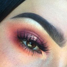 """Shadows: @morphebrushes 35B palette for the transition colors. @limecrimemakeup """"muse"""" shadow in the crease. @maccosmetics rose pigment on the lid. @meltcosmetics """"Amelie"""" on the center of the lid and inner corner. @anastasiabeverlyhills glow kit in that glow on the brow bone. Lashes: @eylureofficial definition 126 & @benefitcosmetics They're real mascara. Brows: @urbandecaycosmetics naked basics 2 palette."""
