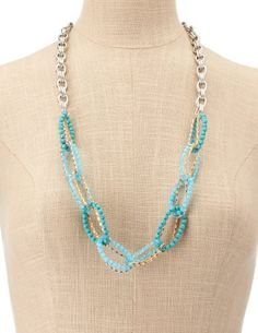 Linked Bead & Chain Necklace