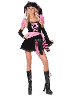 - Teen Pink Punk Pirate Costume Our sexy teen pirate princess outfit is one naughty pirate costume. This teen pirate girl costume is great for Halloween dances or Halloween costume parties. – Black and pink pirate dress – Black and Sexy Pirate Costume, Punk Costume, Pirate Dress, Girl Costumes, Adult Costumes, Costumes For Women, Pirate Costumes, Costume Dress, Black Costume