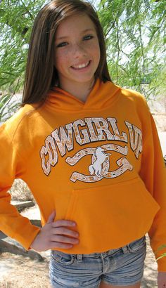 Orange Girls Cowgirl Up Hoodie