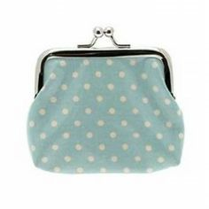 Light blue coin purse with white polka dots. Only £1.99
