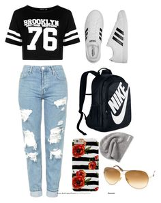 How to wear school clothes. by cayshlover on Polyvore featuring Boohoo, Topshop, adidas, NIKE, Converse and Tom Ford