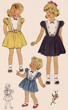 1950's Girl's dress with detachable embroidered bib with lace edged trim from McCall pattern #1559