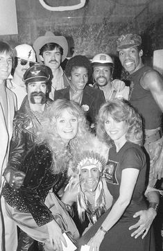 Village People, actresses Valerie Perrine and Jane Fonda, Bruce Jenner & Michael Jackson at Studio 54 for the 'Cant Stop The Music' party, 1980 (shortly before Studio 54 was closed). Bruce Jenner, Studio 54 Nyc, Studio 54 Disco, Paris Jackson, Jane Fonda, Pop Internacional, Valerie Perrine, Manhattan, Village People