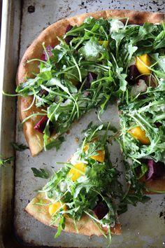 Beet, arugula and goat cheese Pizza via @Heather Christo