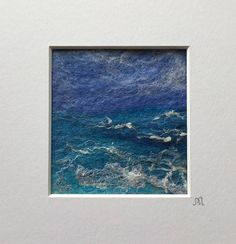 Seascape 1 - Painting With Wool Handmade and wet felted using fine Merino and Falkland Cross wool. Embellished with silk and hand dyed cotton scrim to add lustre and texture. This unique painting comes in a white mount measuring 13.5 cm (Wide) x 14 cm (High). The aperture measures