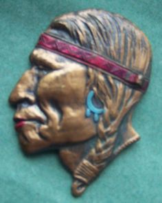 1940s Indian Head Brooch Vintage Native by HappyHomemakerVtg, $40.00