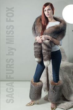 Royal Saga Frost( in amber) fur set: stole wrap and leg warmers.