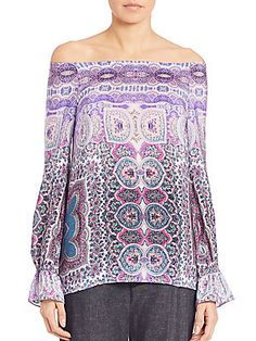 Nanette Lepore Gypsy Printed Silk Off-The-Shoulder Top