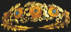Queen Theresa of Bavaria Tiara, c1815; italian tiara made in the roman taste as a garland of roses cut from sheet gold;  made with turqouise, pink topaz, emeralds, diamonds amethysts and pearls