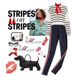 """red fashion"" by hyunaluna ❤ liked on Polyvore featuring MARA, Topshop, Thom Browne, Vans, WithChic, beautyblender, The Body Shop, Prada, stripesonstripes and PatternChallenge"
