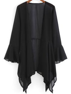 Black Bell Sleeve Loose Chiffon Coat 13.33