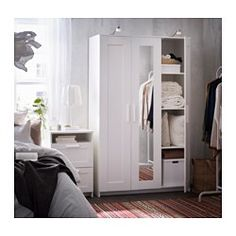 IKEA - BRIMNES, Wardrobe with 3 doors, black, , The mirror door can be placed on… Ikea Brimnes Wardrobe, Diy Wardrobe, Bedroom Wardrobe, Wardrobe With Mirror, White Wardrobe Closet, Ikea Wardrobe Hack, Master Closet, Master Bedroom, Ikea Bedroom