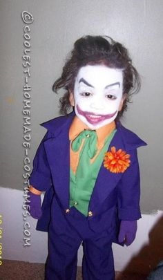 coolest old school joker costume ideas for a child halloween costume contest - Joker Halloween Costume Kids