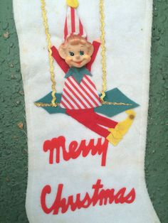 Vintage Christmas Stocking Felt 3D Made Japan Label 1950's Plastic Face Mid Century Kitsch