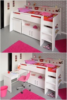 The Parisot Swan Cabin Bed is constructed from high quality particleboard and has matt white color finish. This cabin bed includes the Mid Sleeper bed frame, a free-standing pull-out desk, and built-in shelving areas with a cupboard.
