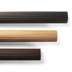 Reeded Wood Curtain Rod with royal sophia finial in walnut color. Purchase rings as well