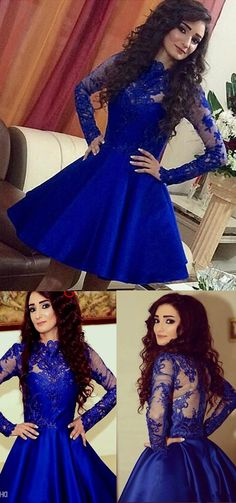 New arrival long sleeves royal blue lace homecoming dresses,high neck see…