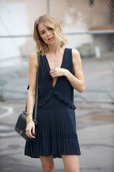 low-cut, pleated LBD