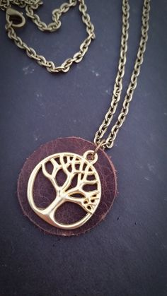 Tree of Life -- Leather Aromatherapy Necklace * Essential Oil Diffuser Pendant
