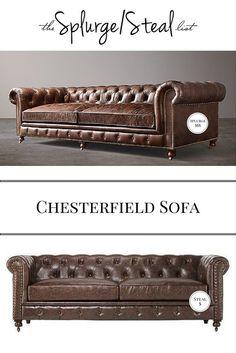 Restoration Hardware Kensington Chesterfield Sofa Cheaper Alternative; Kensington Sofa Knockoff, copy