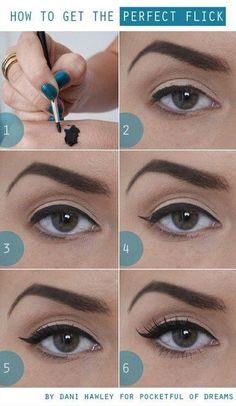 How to draw a perfect eyeline, step by step.  If you've ever tried to paint the line of the eye or eyeline know how difficult it is at first. With an oblique brush and gel khol is easier than with a pencil eyeliner. Get one and if you have gel eyeliner, you can always warm up your pencil with the dryer and turn it into a gel on your hand, which then get wet brush. When you have this process, follow this tutorial step by step and you'll see how you can learn to draw the eye line!